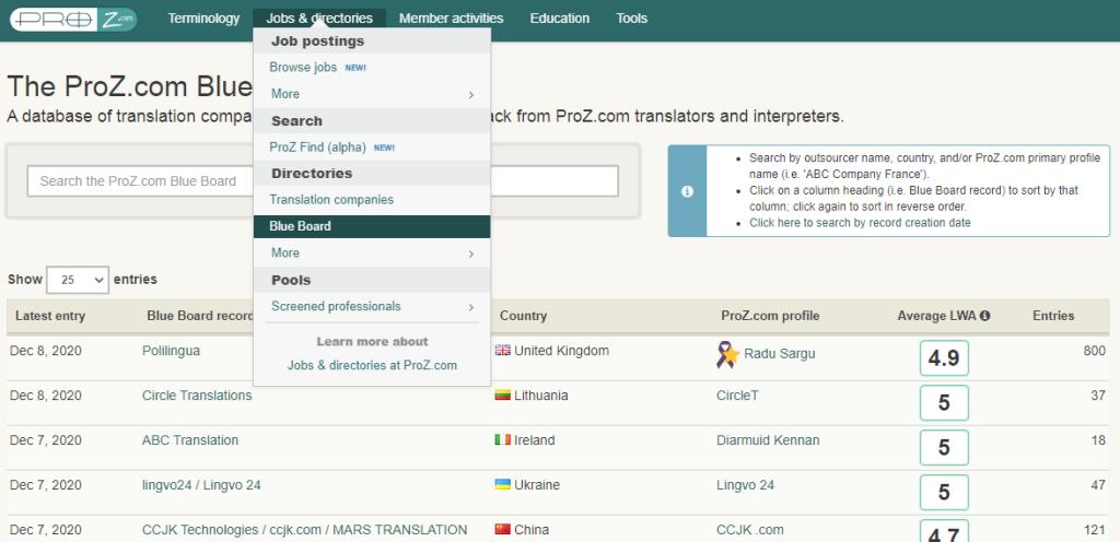 database agences de traduction